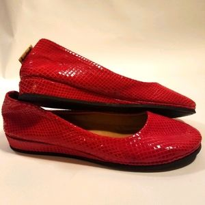 French Sole red leather flats size 6.5